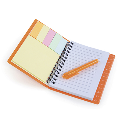 Image of Freshers University Notebook with sticky notes & pen
