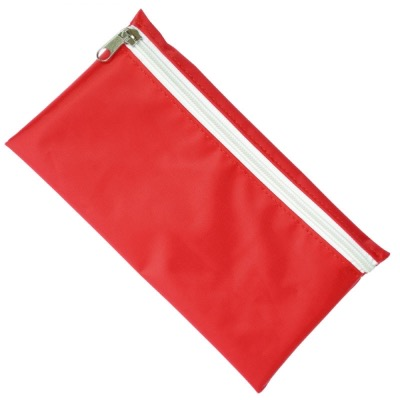 Image of Nylon Pencil Case - Red (White Zip)