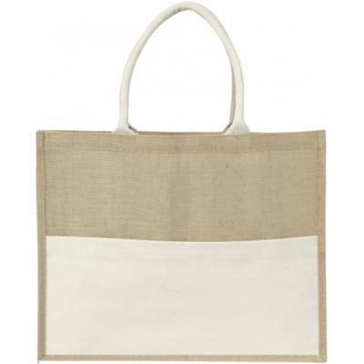 Image of Jute bag with a cotton front pocket