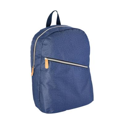 Image of Polyester laptop backpack in denim look, with one large front zipped pocket