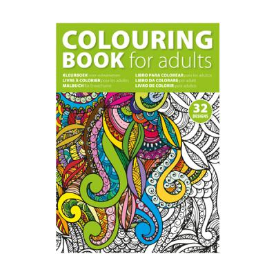 Image of A4 adults colouring book with 32 designs on 250gsm paper