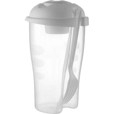 Image of Salad container with cup and fork.