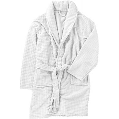 Image of Polyester wellness set with waffle design bathrobe with two front pockets, a wash cloth (approx. 30 x 31 cm) pair of slippers with small anti-slip silicon dots, all folded together and tied with a matching ribbon.