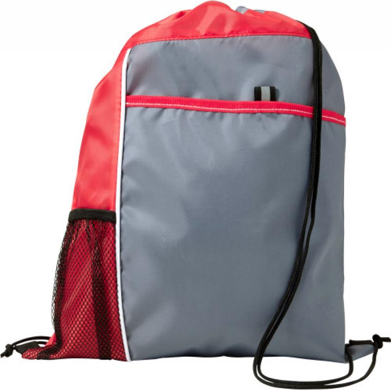 Image of Drawstring backpack with a mesh pocket and coloured trim