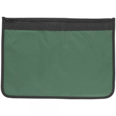 Image of Nylon Document Wallets - Green / Black Edging