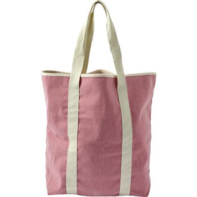 Image of Twill cotton two-tone beach bag